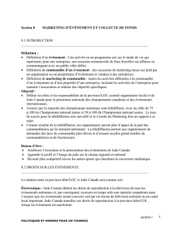 Section 8 MARKETING D`ÉVÉNEMENT ET COLLECTE DE FONDS
