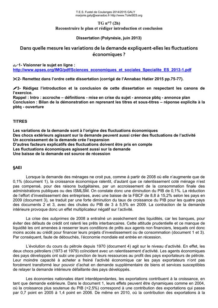 Exemple De Dissertation économique En Pdf - Le Meilleur ...