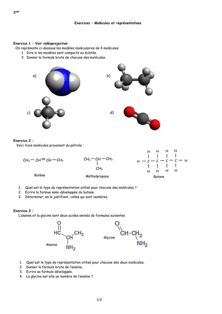 2nde Exercices : Molécules et représentations Exercice.1 ...