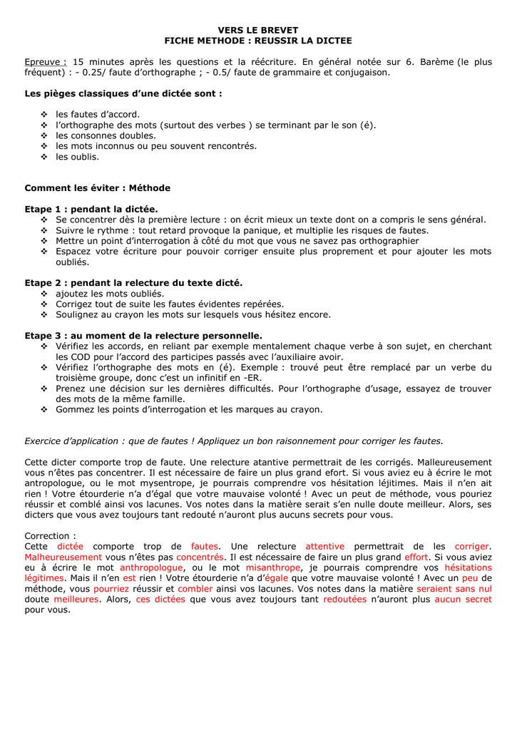 reussir redaction brevet