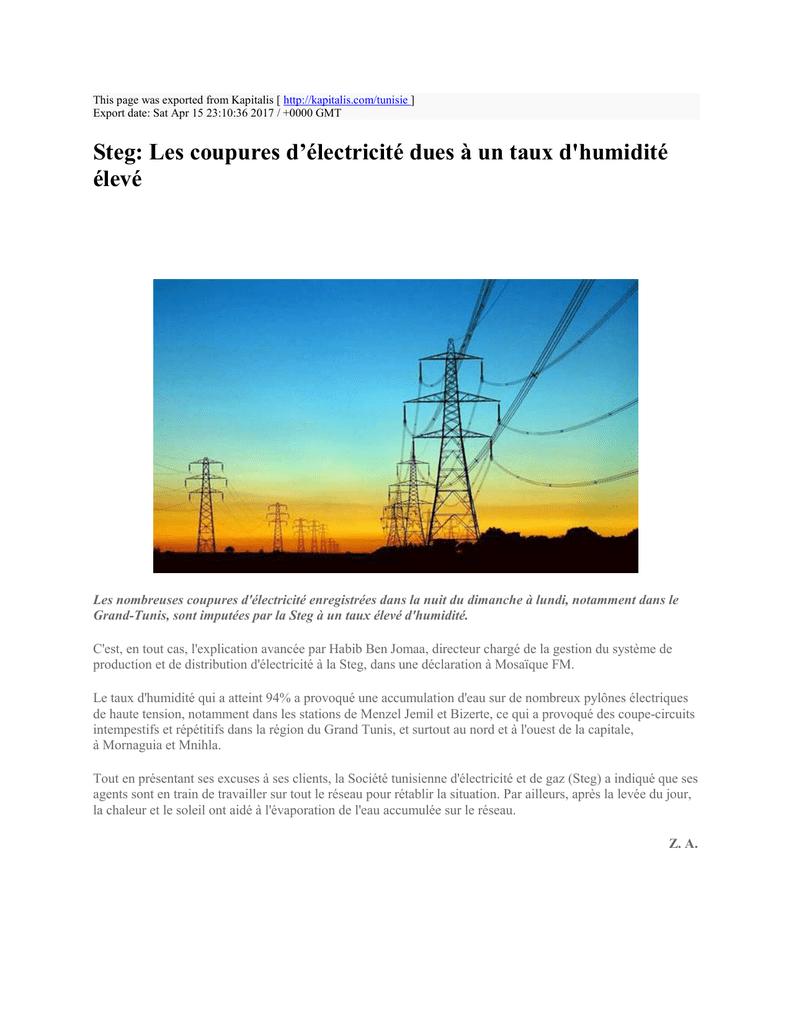 Produit Contre L Humidité Tunisie steg: les coupures d`électricité dues à un taux d`humidité
