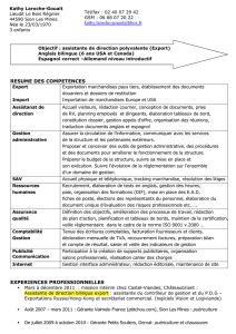 RESUME DES COMPETENCES Export Import Exportation