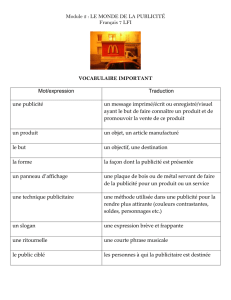 Vocabulaire important pour le module
