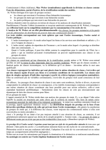 Document sur la stratification sociale selon Weber