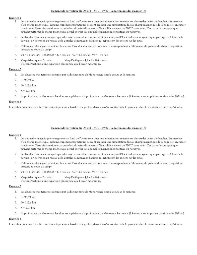 Elements De Correction Du Ds N 4 Svt 1ere S La Tectonique