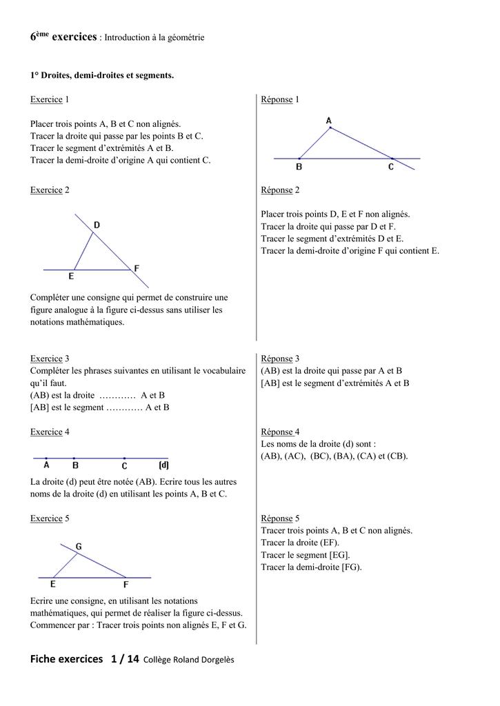 6ème exercices : Introduction à la géométrie 1° Droites, demi
