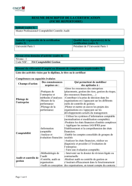 resume descriptif de la certification