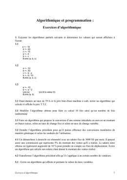 Exercices d`algorithmique