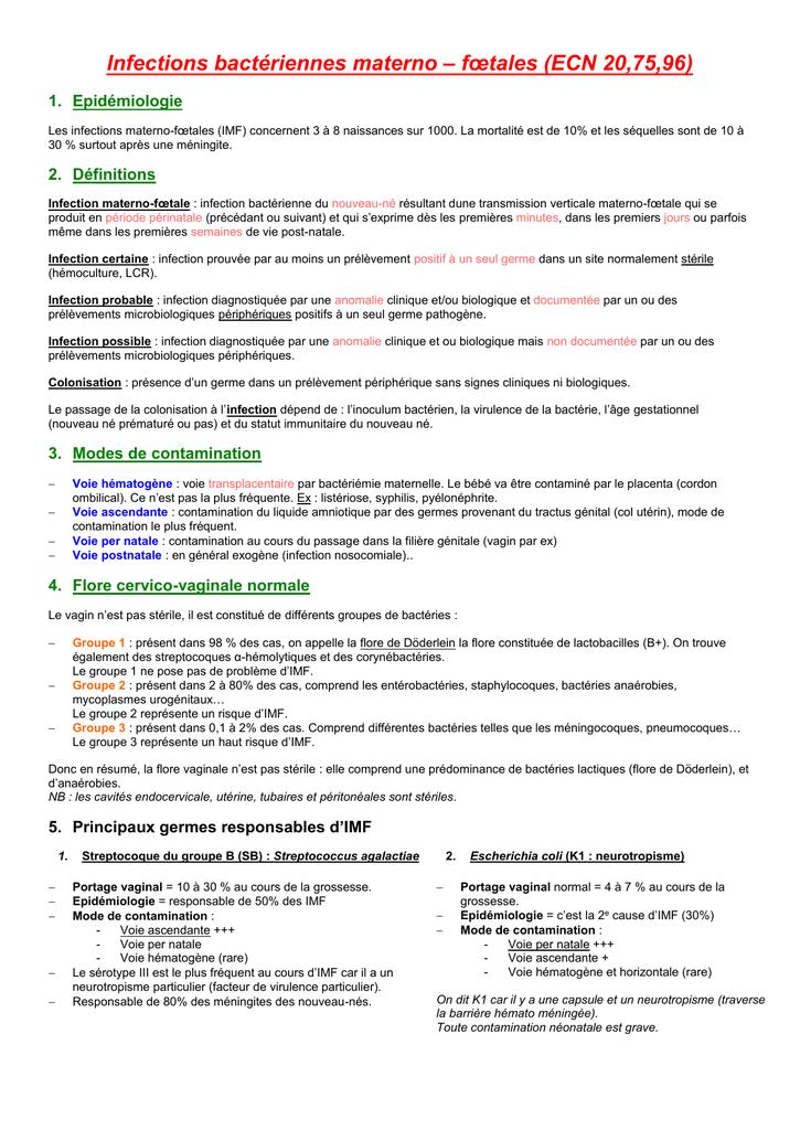 Infections bactériennes materno – fœtales (ECN 20,75,96