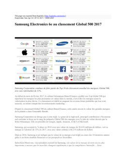 Samsung Electronics 6e au classement Global 500 2017 : Kapitalis
