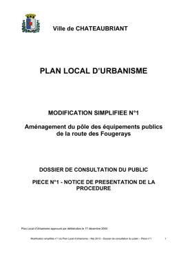 Ville de CHATEAUBRIANT PLAN LOCAL D`URBANISME M