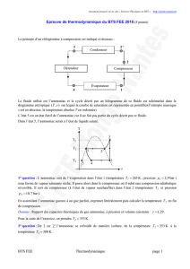 Epreuve de thermodynamique du BTS FEE 2010 (8