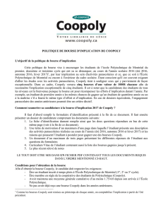 politique de bourse d`implication de coopoly