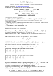 Bac maths S 2001