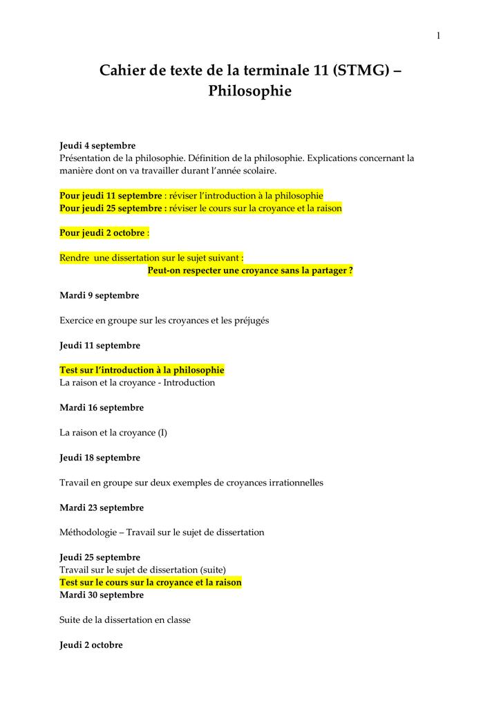 sujet de dissertation 1ere stmg
