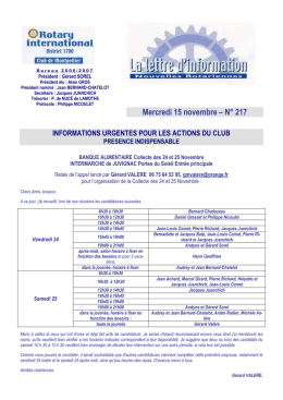 Bulletin 217 - 15 novembre - Rotary Club Montpellier Comédie