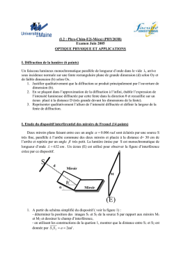 I. Etude du dispositif interférentiel des miroirs de Fresnel (14 points)