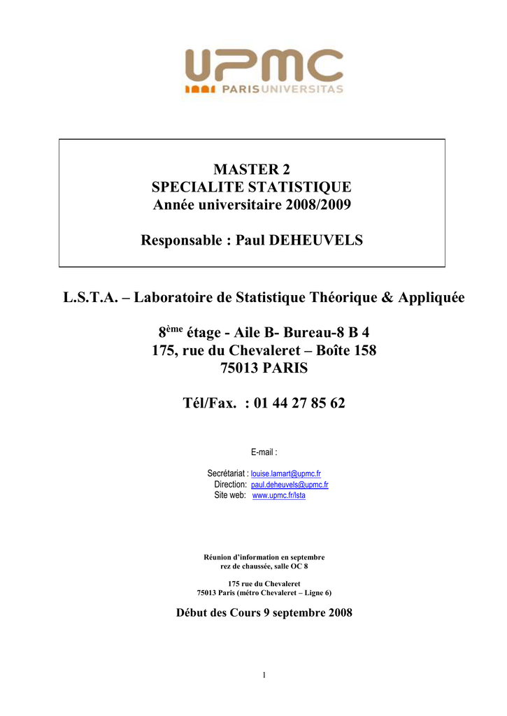 Carte Accord Upmc.Responsable De L Ue Laboratoire De Statistique Theorique Et