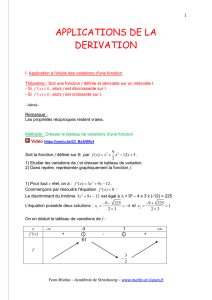 1 APPLICATIONS DE LA DERIVATION I. Application à l`étude des