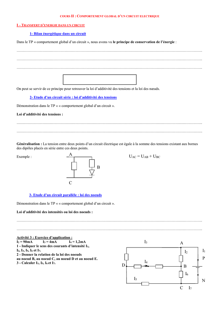 Global Cours D`un Circuit Electrique IiComportement qAj54RL3