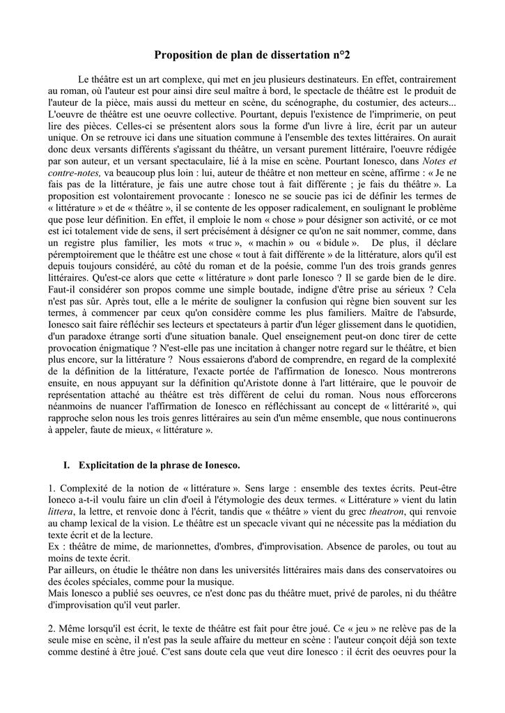 dissertation ionesco notes et contre notes