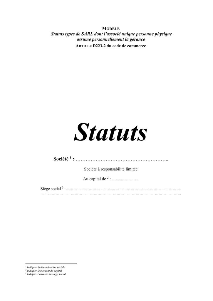 Les Statuts Type D Eurl Greffe Du Tribunal De Commerce De Romans