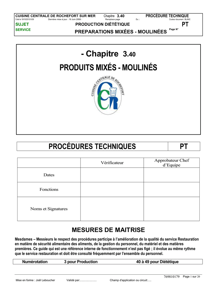 Pt 3 40 Mixes Moulines Procedure