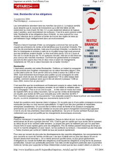 Intel, Bombardier et les obligations Page 1 of 2 Imprimer un article