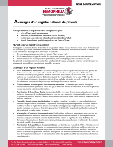 Avantages d`un registre national de patients