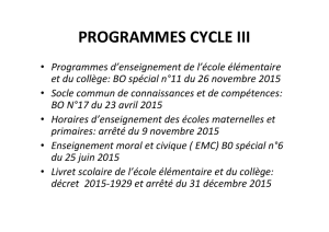 Presentation Francais Cycle 3