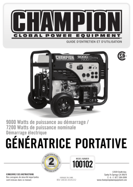 GÉNÉRATRICE PORTATIVE - Champion Power Equipment