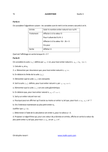 TS ALGORITHME feuille 3 Partie A On considère l - Maths