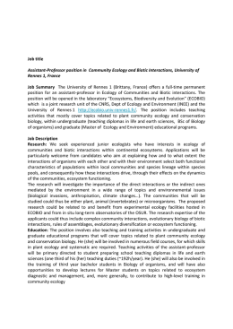 Job title Assistant-Professor position in Community Ecology