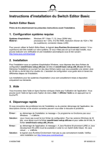 Instructions d`installation du Switch Editor Basic