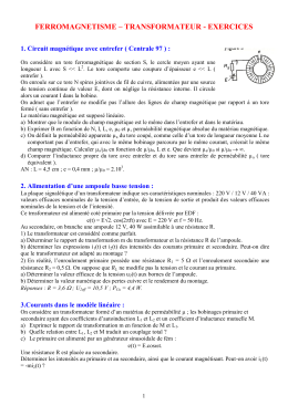 ferromagnetisme – transformateur - exercices