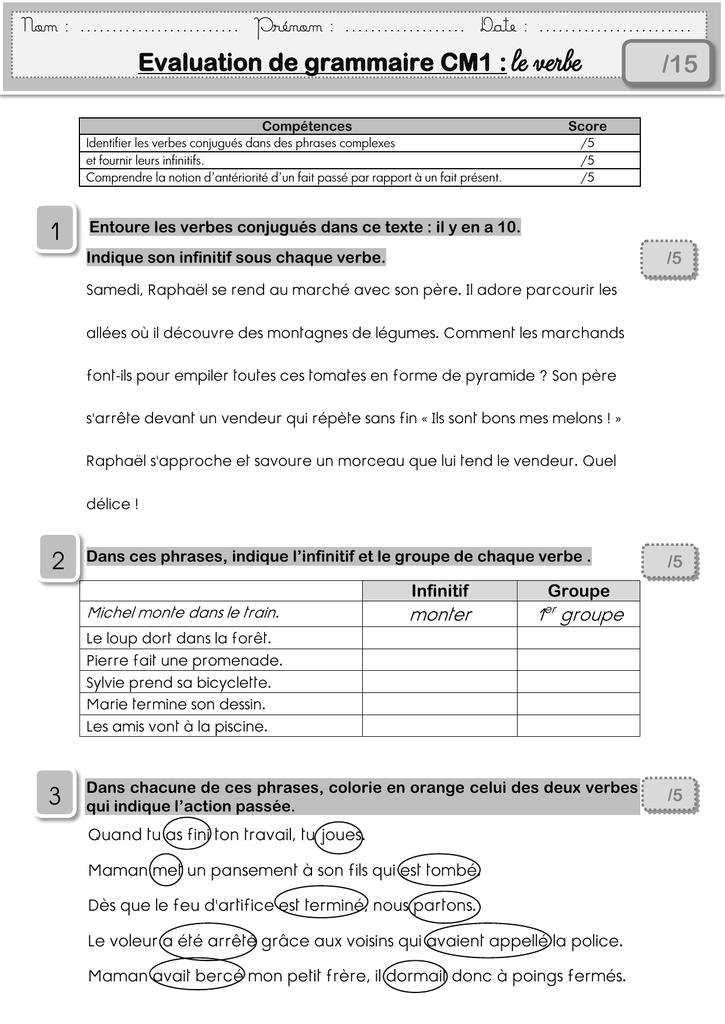 eval 2 Le verbe cm1 mamait - MA MAITRESSE DE CM1-CM2