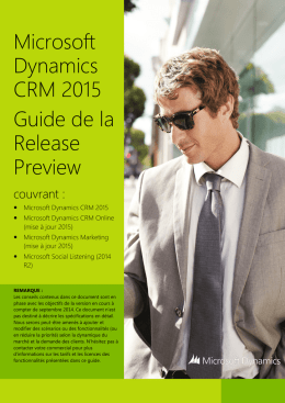Microsoft Dynamics CRM 2015 Guide de la Release Preview