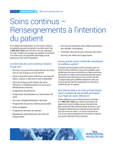 Soins continus – Renseignements à l`intention du patient