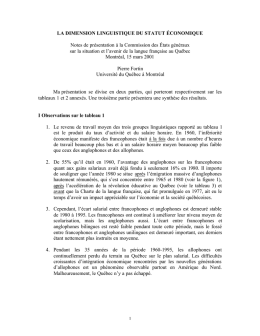 LA DIMENSION LINGUISTIQUE DU STATUT ÉCONOMIQUE Notes