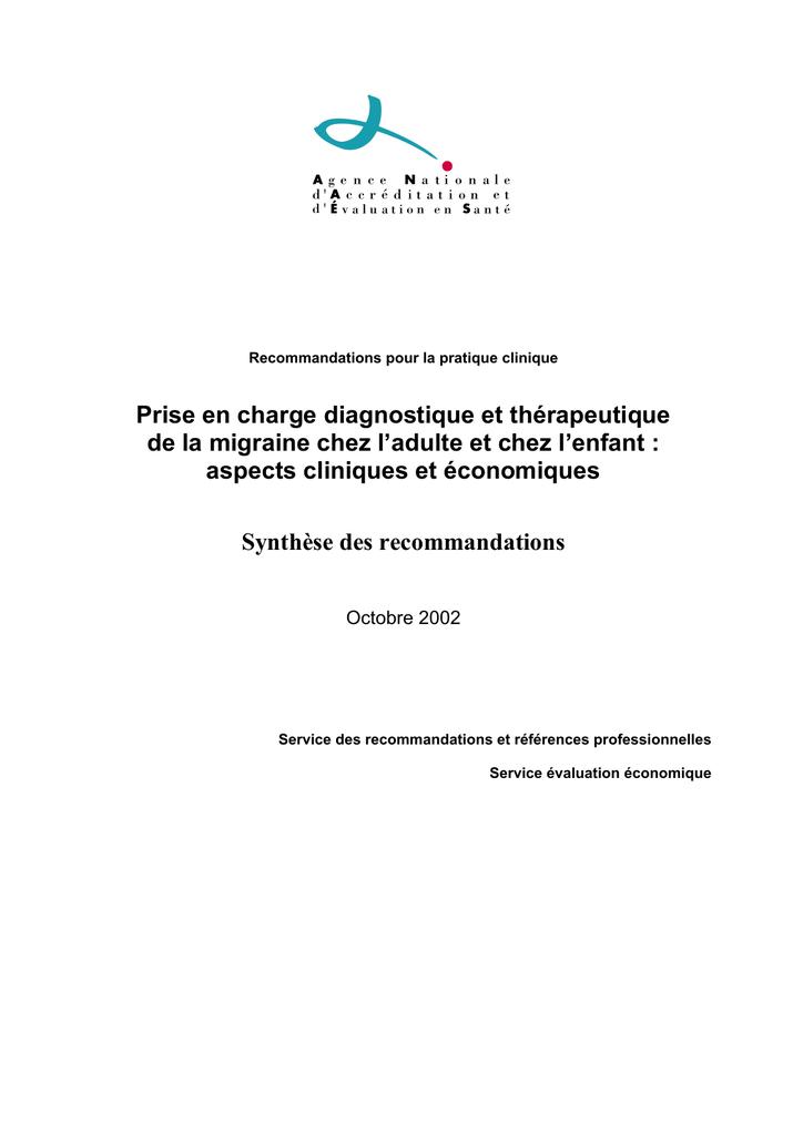 Migraine - Synthèse des recommandations