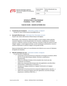 GPA325 INTRODUCTION À L`ÉLECTRONIQUE Préalable(s)
