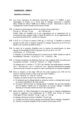 EXERCICES – SÉRIE F Equilibres chimiques F.1. Lors d`une