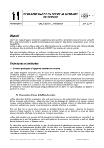 DEMARCHE HACCP EN OFFICE ALIMENTAIRE DE