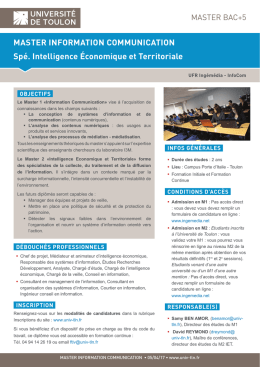 MASTER INFORMATION COMMUNICATION Spé. Intelligence
