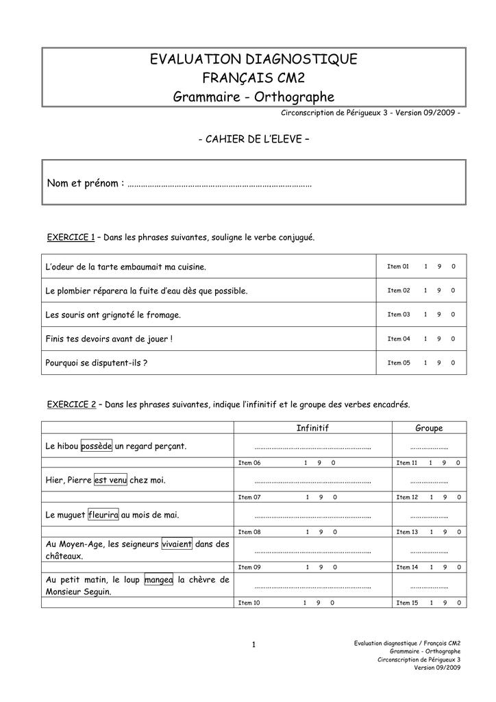 CM2 - Français - Grammaire - Evaluation diagnostique