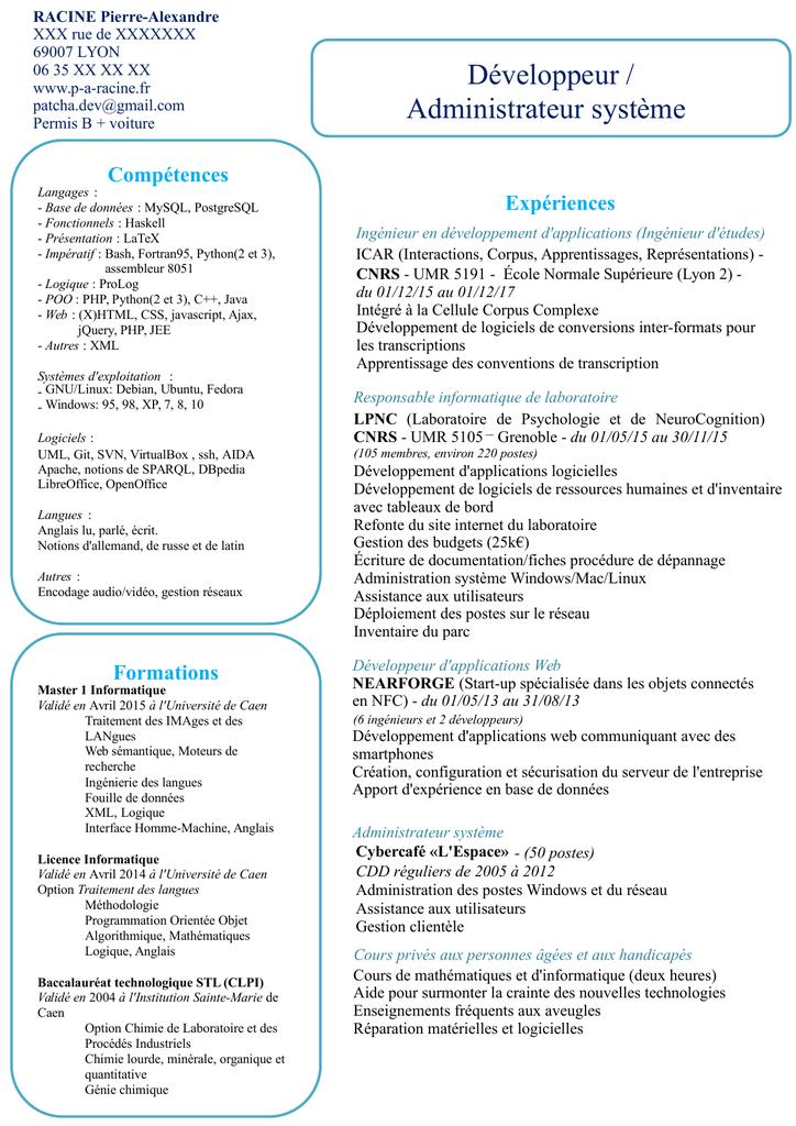 Télécharger ce CV. - Développeur / Administrateur système