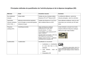 Principales methodes de quantification de l`activite physique