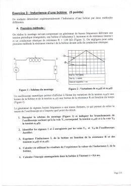 Exercice 3 : Inductance d`une bobine (5 points)