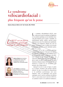 Le syndrome vélocardiofacial - STA HealthCare Communications