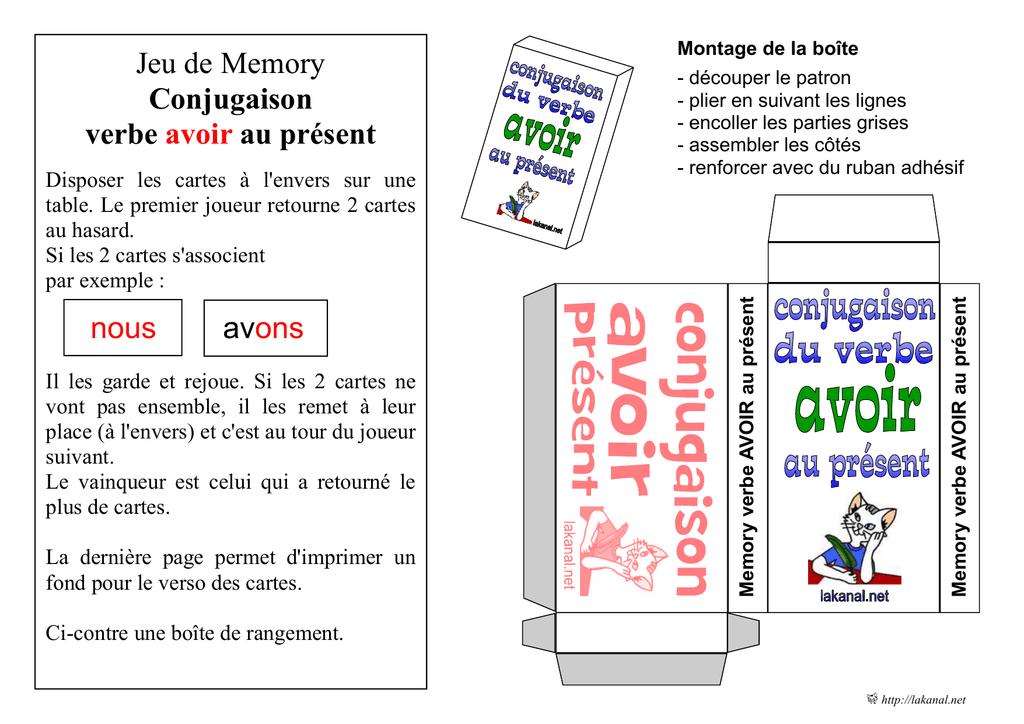 Jeu De Memory Conjugaison Verbe Avoir Au Present
